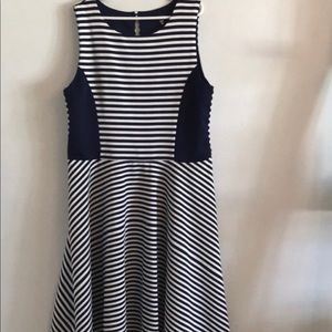 Royal Blue and White Stripped Dress
